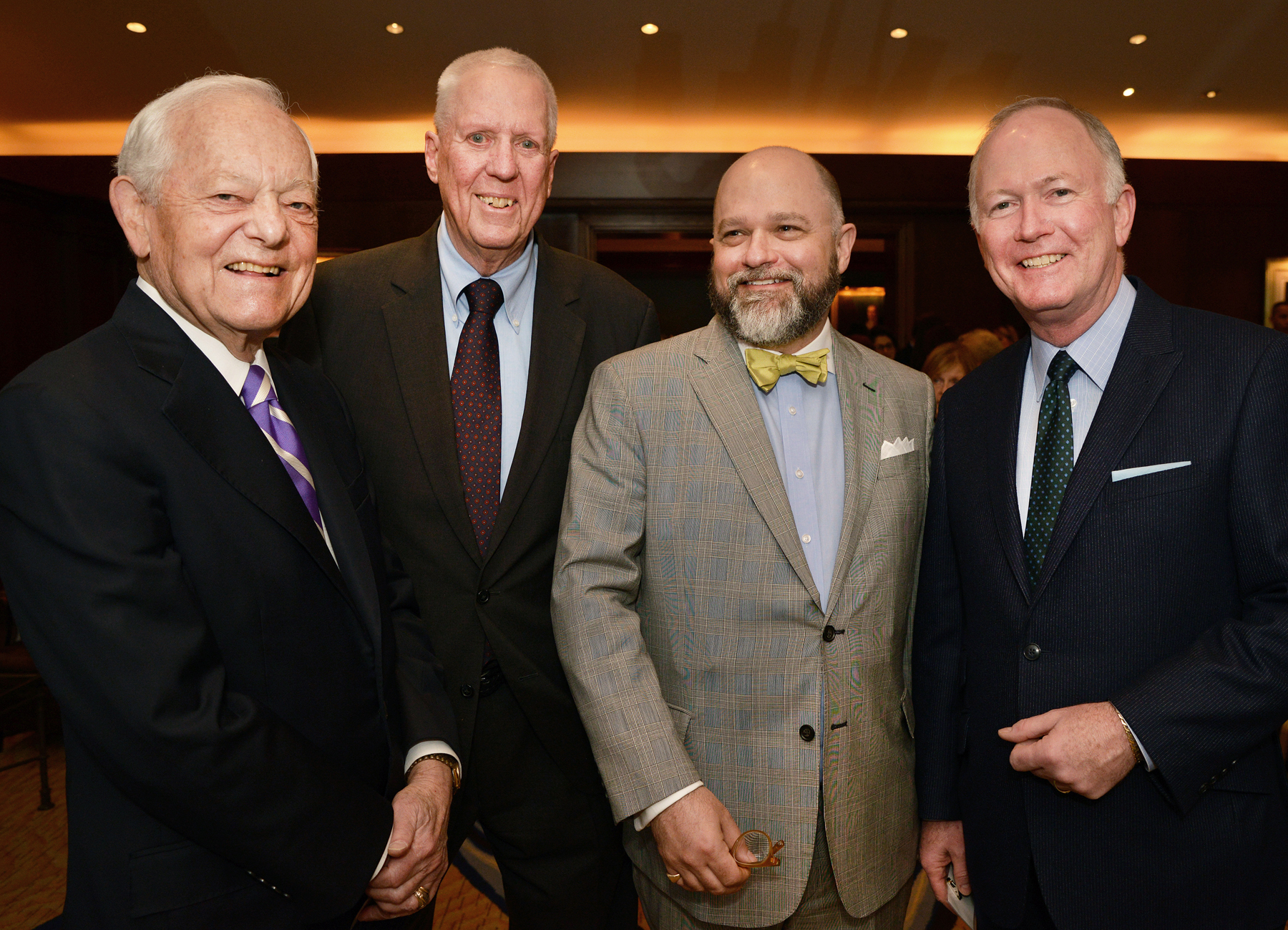 Bob Schieffer of CBS; David Hartman; longtime host of ABC's Good Morning America; Brenton Simons, President and CEO of NEHGS; and Bill Griffeth, co-anchor of CNBC's Closing Bell