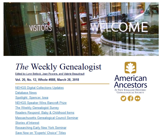 The Weekly Genealogist