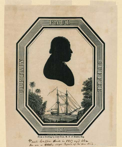1812 portrait of Paul Cuffe in tropical location, possibly Sierra Leone