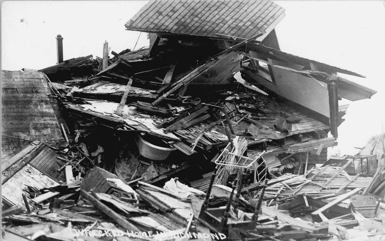 The photos above depict wreckage in Richmond, the area of Halifax obliterated by the explosion on December 6, 1917.