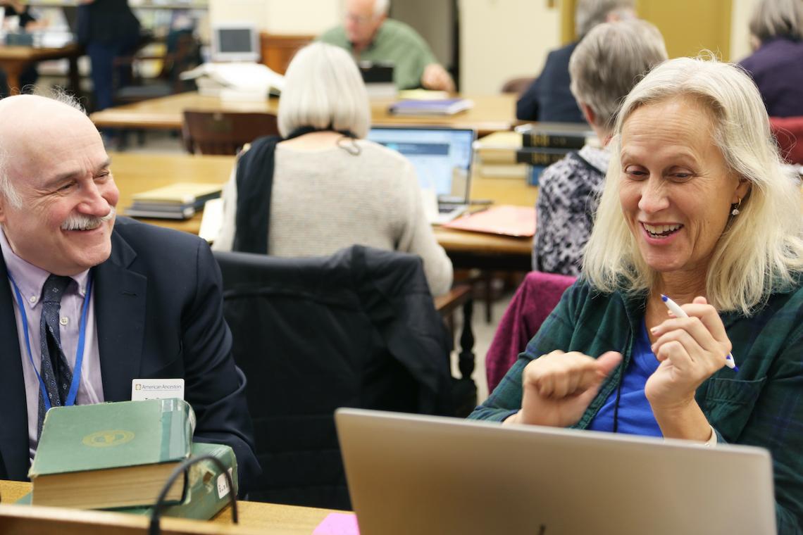 Genealogist Tom Dreyer with a patron