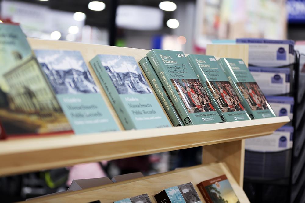 NEHGS books on a shelf