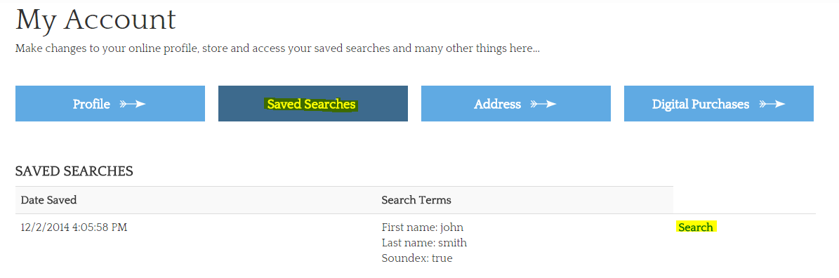 saving searches