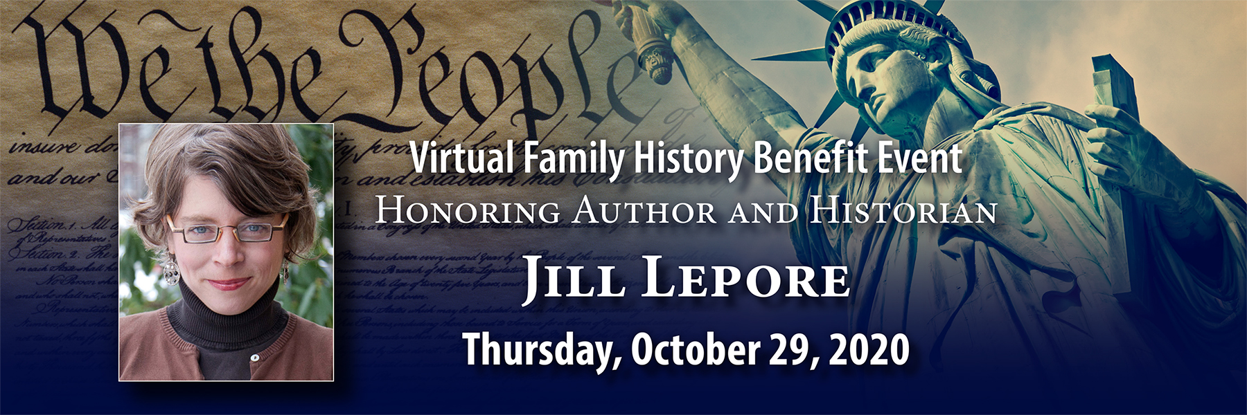 Register now for our virtual fall family history benefit event featuring Jill Lepore