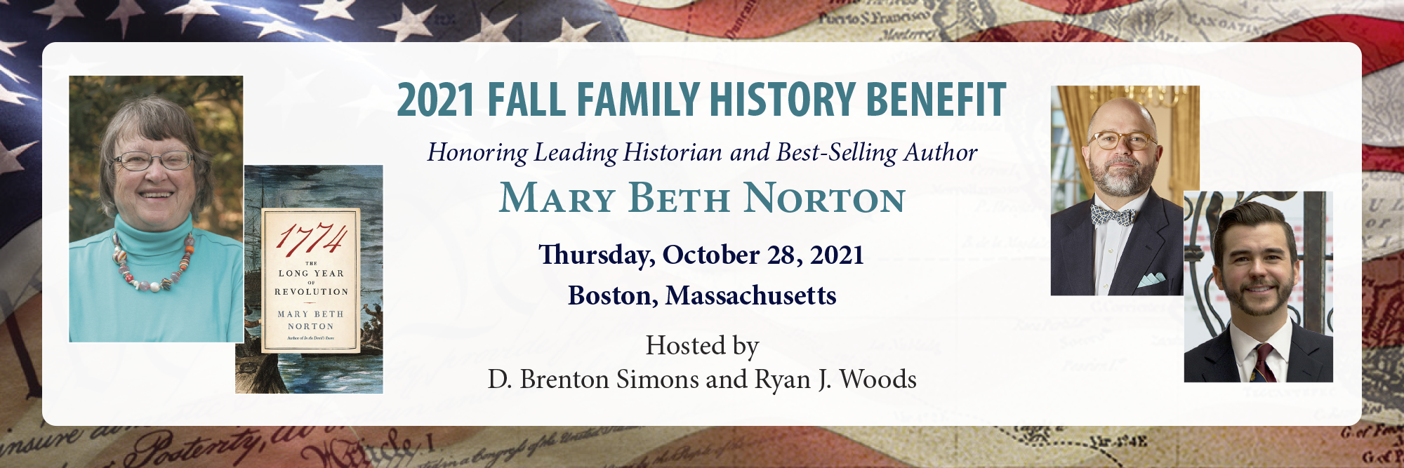 2021 Fall Family History Benefit honoring leading historian and bestselling author Mary Beth Norton, October 28, Boston, MA