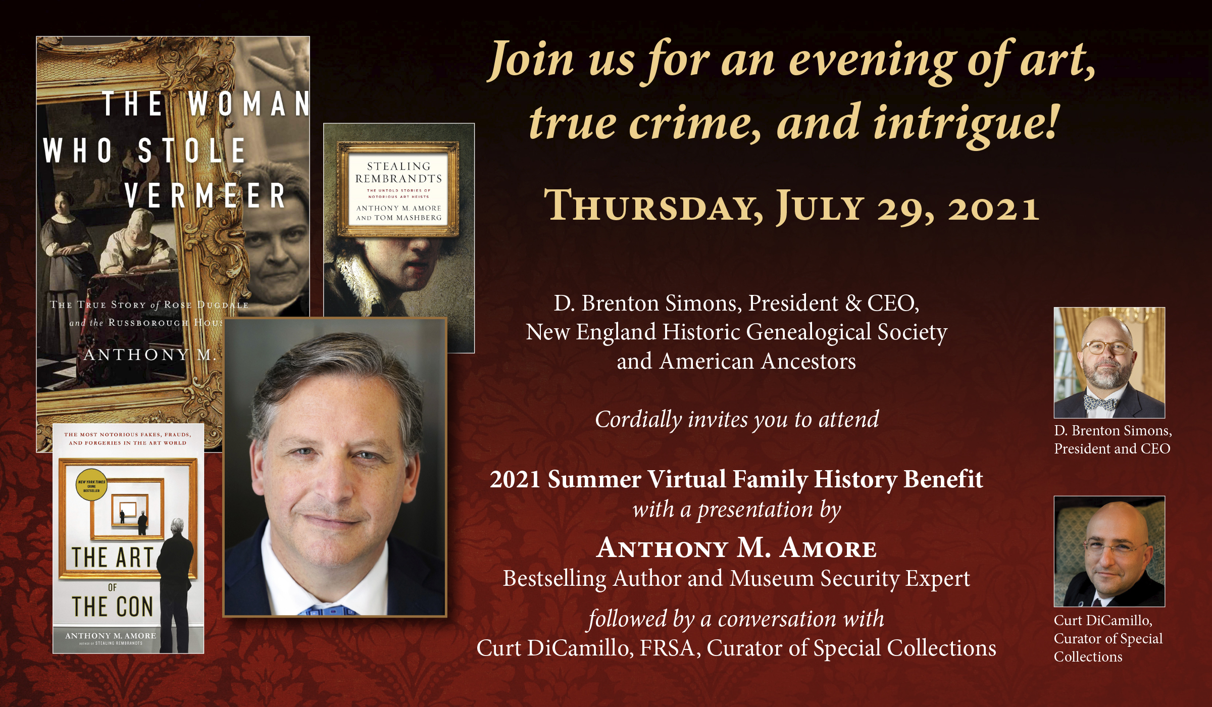 Join us for an evening of art, true crime, and intrigue! 2021 Summer Virtual Family History Benefit, July 29