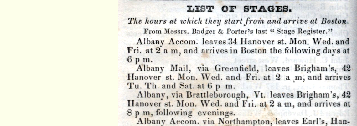 Boston List of Stages 1834