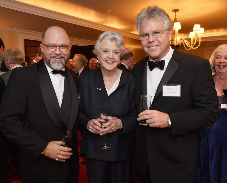 New England Historic Genealogical Society president D. Brenton Simons, Dame Angela Lansbury, and her son, Anthony Shaw.